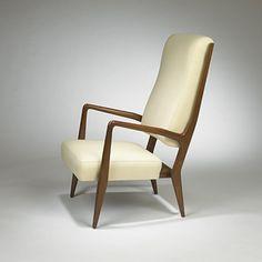 GIO PONTI    armchair, model #589    Cassina  Italy, 1955  Italian walnut, upholstery  24.5 w x 29.5 d x 41 h inches