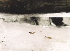 """mythologyofblue:    Andrew Wyeth, Ice Pool, 1969, Watercolor    """"I prefer winter and fall, when you feel the bone structure of the landscape—the loneliness of it, the dead feeling of winter. Something waits beneath it, the whole story doesn't show."""" — Andrew Wyeth    (via Mister Crew, arsvitaest)"""