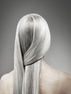 Beautiful long gray hair. Aging gracefully
