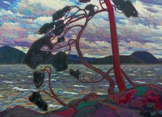 The West Wind by Tom Thomson. He was one of the Group of Seven, a well known group of Canadian artists from the early twentieth century.  The West Wind was his final painting.
