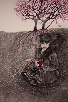 "Alessia Iannetti | GRAPHITE and COLORED PENCIL | ""Eva and the Crow"""