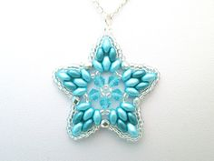 Turquoise and silver swarovski elements super duo star pendant, aqua necklace, summer jewelry, pastel jewellery,
