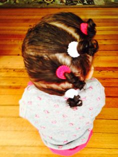 Toddler hairstyle for curly hair, Four side ponytails