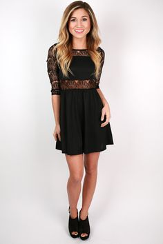 Downtown Girl's Night Lace Dress in Black