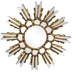 Gold Leaf Sunburst Mirror ($145) ❤ liked on Polyvore featuring home, home decor, mirrors, sunburst mirrors, gold leaf mirror, vintage wood mirror, sun shaped mirror, sun burst mirror and sunburst mirror