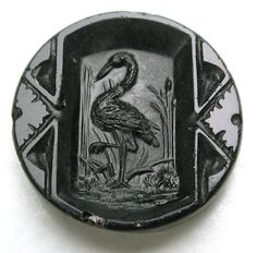 """Antique Black Glass Button Detailed Crane in a Marsh - 5/8"""""""