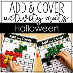 Halloween Add and Cover Mats - Let Kindergarten students master addition facts with numbers 1-10. Cover the spaces based on the number represented. Small cubes work best for this math center. Use it for independent work, partners, small groups, ealry or fast finishers, & more. Use this all October long as part of your Halloween activities! #KindergartenMath #HalloweenMath #Kindergarten #MrsRoltgen