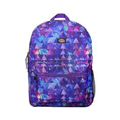 """Dickies \"""" Printed Galaxy Triangles Student Backpack ($22) ❤ liked on Polyvore featuring bags, backpacks, purple, backpack bags, purple bag, blue backpack, purple backpack and dickies backpack"""