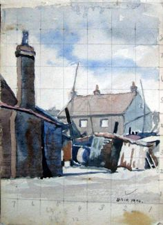 A sketch of Back Yard by Walter Steggles 1930 Camden London, Camden Town, East London, Bow Art, Urban Landscape, Architecture Art, Watercolor, 2d, Illustration