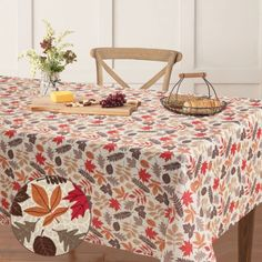 Dress your table for autumn with the Autumn Medallion tablecloth from Aubrie Home Accents. This decorative seasonal tablecloth features an all-over design of falling leaves in red, orange, and brown hues. Its print is ideal for special occasions, holiday decorating or everyday use in the fall. It measures 60-in. by 84-in. to fit rectangular tables that seat 6 to 8 people. This tablecloth is made from easy care polyester that's machine washable and iron-safe to make cleanup a breeze. Fall Home Decor, Autumn Home, Home Decor Trends, Home Decor Inspiration, Farmhouse Kitchen Inspiration, Kitchen Tablecloths, Home Accents, Falling Leaves, Autumn Leaves