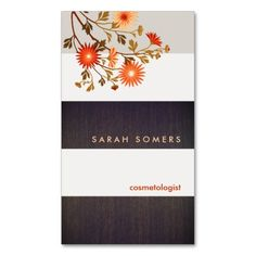 63 best business cards cosmetologist images on pinterest custom modern wood stripes orange flowers cosmetology business card template colourmoves