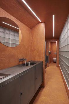 Studio Neuhäusl Hunal navrhlo celkovou revitalizaci historického objektu pražské restaurace U Glaubiců | EARCH. Bathroom Lighting, Studios, Mirror, Furniture, Home Decor, Bathroom Light Fittings, Bathroom Vanity Lighting, Decoration Home, Room Decor