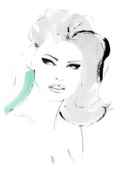 """Your Secret"" inspiration: a photo with Linda Evangelista fashion illustration by kornelia dębosz"