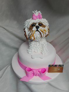 Torta de perro Shih tzu hecho en fondant. Dog cake made in fondant