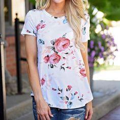 Summer Shirts Women Top Fashion Short Sleeve Print Tops