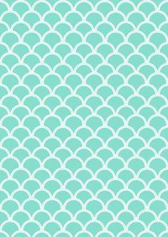 FREE printable turquoise pattern paper ^^ #scalloped #japanesewaves