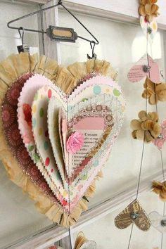 Lovely Valentine heart - hmmm, combine book page wreath ideas with this shape. Let them stack these up, with the vintage valentine print outs. Creative Valentines Day Ideas, Valentines Day Decorations, Valentine Day Crafts, Valentine Heart, Holiday Crafts, Fun Crafts, Creative Ideas, Heart Decorations, Valentine Nails