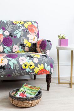 Caitlin Wilson Design   Summer Furniture   Kate Settee in Grey Blooms