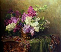Clara von Sievers (German, 1854-1924). A Still Life With Lilacs And Violets On A Draped Guilt Rococo Table