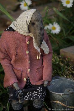 Купить Баба Зина - комбинированный, ворона, авторская кукла, бабушка, бабуля, ностальгия, деревенский стиль