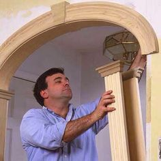 Create an archway for a more dramatic impact and architectural interest. For full step-by-step instructions, shopping list, and tools list, see How to Create an Archway. Home Renovation, Home Remodeling, Cheap Remodeling Ideas, Plafond Design, Moldings And Trim, Faux Crown Moldings, Timber Mouldings, Trim Work, Home Upgrades