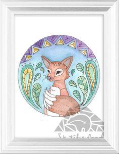 Woodland Fox Nursery Watercolor Art Print 8.5x11 by sketchndoodle #teampinterest, tribal art, Cabin Art, Rustic Art, fox tribal art, fox aztec art