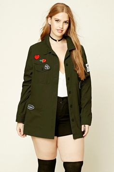 "Forever 21+ - A cotton jacket featuring front cargo pockets, ""4 Ever Young"", ""Los Angeles/New York"", ""Oops"", ""Stop Judging Me"" patches, a basic collar, long sleeves with button cuffs, a button-down front, and front patch pockets."