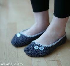 Hope everyone had a great Mother's Day over the weekend! I crocheted my Mom her very own pair of slippers and here she is proudly modeling them :) She likes darker colours, so I used two shades of grey and adorned them with two small buttons with...