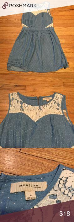 Monteau light blue polka dot dress - sz Large Monteau light blue polka dot dress - sz Large. Armpit to armpit - 18 inches. Length - 34 inches. Excellent condition. Monteau Dresses Mini