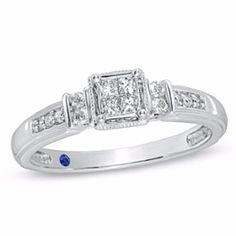 Cherished Promise 1/4Ct Princess Cut Real Diamond Promise Ring In 10K White Gold # With Free Stud Earrings by JewelryHub on Opensky