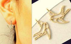 Stud Gold Bird delicate EAR,Graceful Lucky Swallow from CamelysUnikatBijoux by DaWanda.com