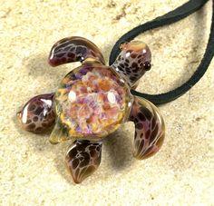 Baby sea turtle necklace glass beads pendant Handmade custom jewelry Lampwork beads Glass flowers Boro beads by RyanJesseeglass on Etsy https://www.etsy.com/listing/578522999/baby-sea-turtle-necklace-glass-beads