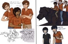 """""""Two mini comics of Leo and the Stoll brothers because I am convinced they'd be awesome friends and they'd cause havoc all over Camp Half-Blood"""" (The Adventures of Leo and the Stolls by Deesney on DeviantArt)"""