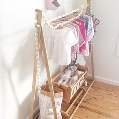 The Minka A-Frame is perfect for a kids bedroom - featuring a contemporary and sturdy bamboo frame. Kids Clothing Brands List, Kids Clothing Rack, Clothing Stores, Kids Hangers, Built In Wardrobe, Kids Store, Baby Boy Fashion, Girls Bedroom, Diy For Kids