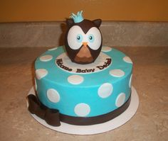 Blue Owl Baby Shower Cake — Baby Shower