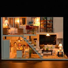 DIY Loft Apartments Dollhouse Wooden Furniture LED Kit Xmas Birthday Gifts USA for sale online Wooden Dollhouse, Diy Dollhouse, Dollhouse Miniatures, Led Furniture, Wooden Furniture, Doll Furniture, Cabine Diy, Kids Doll House, Puzzle Crafts