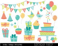 Birthday Clipart Birthday Clip art Bunting by mintprintables, $5.00