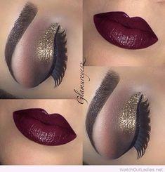 Burgundy lipstick and gold glitter eye makeup
