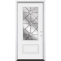 Masonite Hancock 3/4 Lite Decorative Glass Left-Hand Inswing Primed Steel Prehung Entry Door With Insulating Core (Commo Decorative Panels, Decorative Glass, Primed Doors, Outside Paint, Craftsman Door, Victorian Door, Glass Insulators, Entry Doors, Front Doors