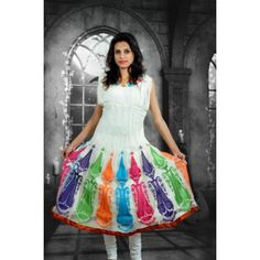 Salwar Kameez -  Off-White Embroidered Georgette Anarkali Salwar Kameez