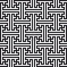 Chinese geometric pattern. Traditional ornament with swastikas (manji symbol). Stock Photo