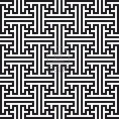 Chinese geometric pattern. Traditional ornament with swastikas (manji symbol). Stock Photo