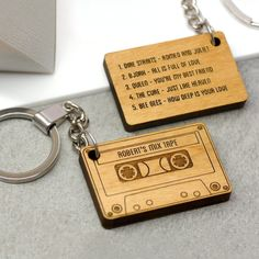 A cassette tape shaped keyring, personalised with a name and up to five songs of your choice. This fun and romantic key ring is carefully handmade in our Brighton studio and is laser cut from sustain. Trotec Laser, Laser Cut Wood, Laser Cutting, Wood Laser Engraving, Engraving Ideas, Wood Laser Ideas, Laser Cutter Ideas, Laser Cutter Projects, Wood Burning Crafts