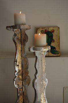 coppia candelabri in legno da recupero