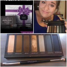 Younique addiction palette 4 and the angled/sponge shadow brush! Love this palette!!