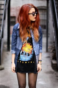 love the denim shirt, and obsessed with her hair...