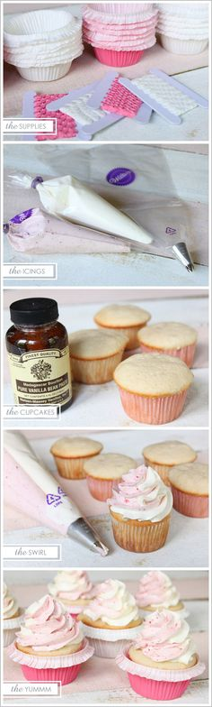 To  Frost Cupcakes: Take both the Vanilla and Strawberry icing piping bags and place BOTH inside of a larger 16 inch piping bag fitted with star tip 1M. Squeeze piping bag starting on the outer edge of the cupcake and go in a circular motion towards the center to create the Vanilla & Strawberry Swirl look. So this is how you get a two-tone swirl without a divided piping bag!!