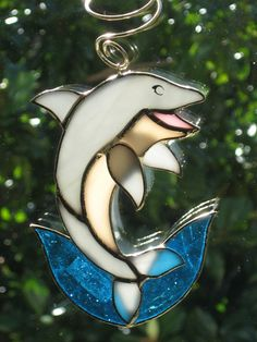 Leaping Dolphin Stained Glass Suncatcher Bottle Ornament Gallery Glass