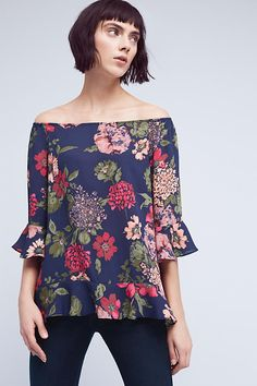 Floral Off-The-Shoulder Tunic Top   Anthropologie