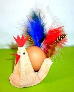 Hahn und Henne aus Eierkarton - Meine Enkel und ich